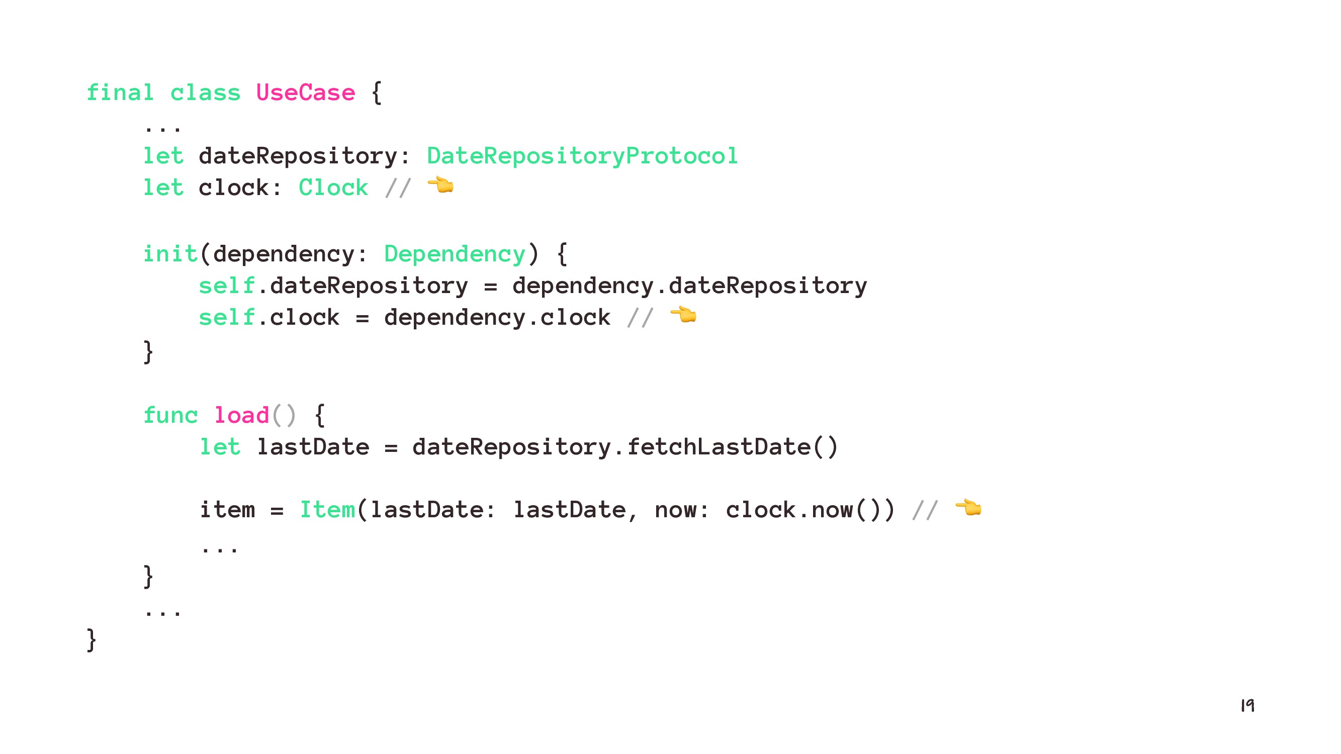final class UseCase { ... let dateRepository: D...