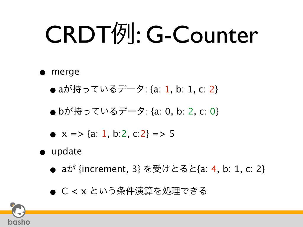 CRDTྫ: G-Counter • merge •a͕͍ͬͯΔσʔλ: {a: 1, b:...
