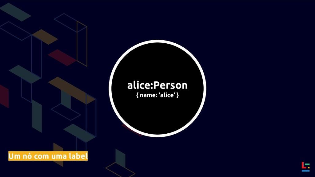 alice:Person { name: 'alice' } Um nó com uma la...