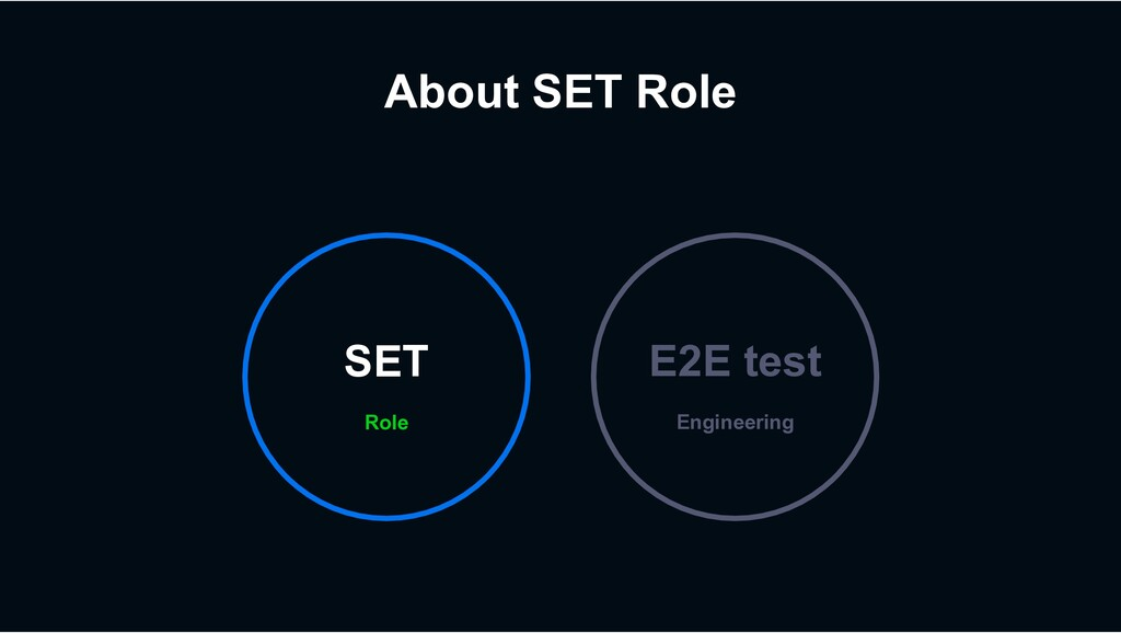 About SET Role Engineering E2E test Role SET