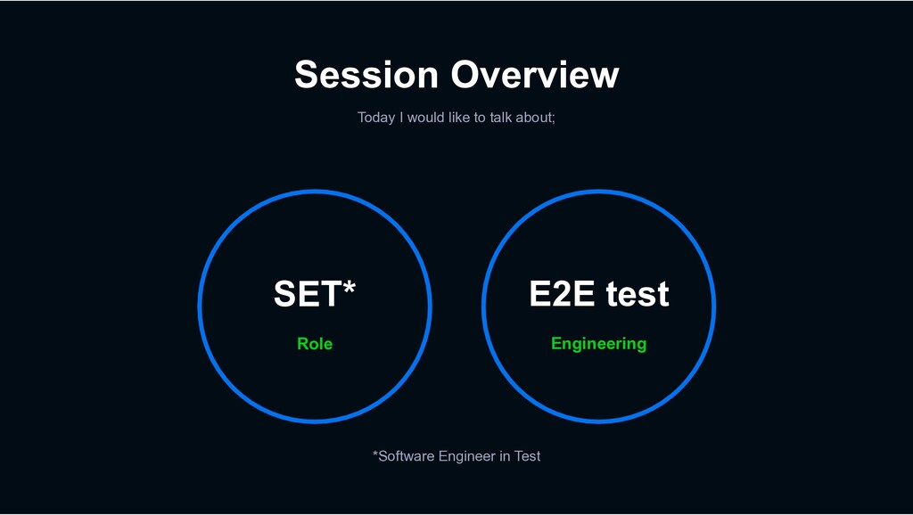 Session Overview Today I would like to talk abo...
