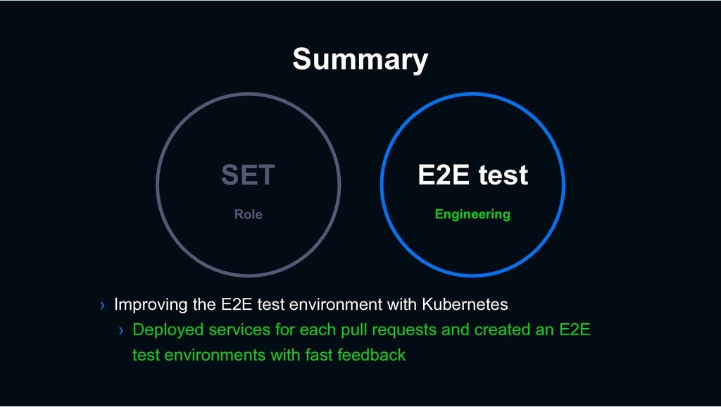 Summary Engineering E2E test Role SET › Improvi...