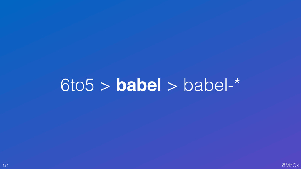 @MoOx 6to5 > babel > babel-* 121