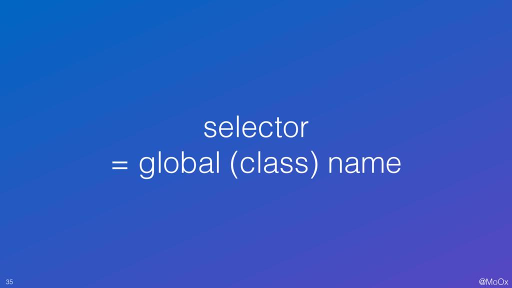 @MoOx selector = global (class) name 35