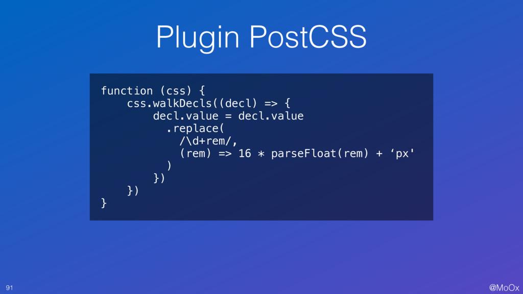@MoOx Plugin PostCSS 91 function (css) { css.wa...