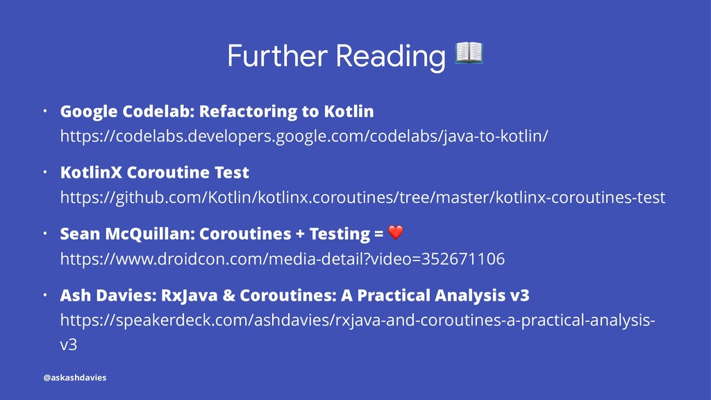 Fu#her Reading • Google Codelab: Refactoring to...