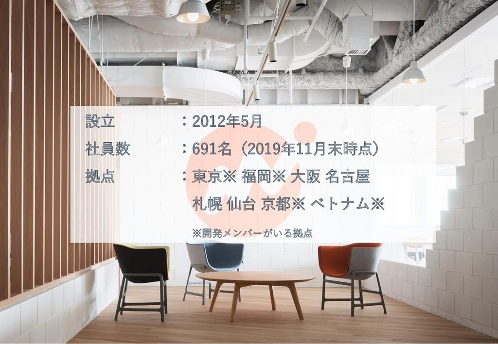 会社概要 3 設立 :2012年5月 社員数 :691名(2019年11月末時点) 拠点 :東...