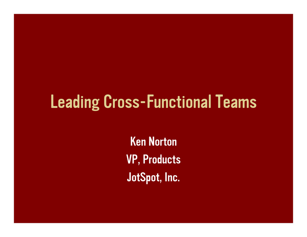 Leading cross-functional teams, or bringing the Donuts