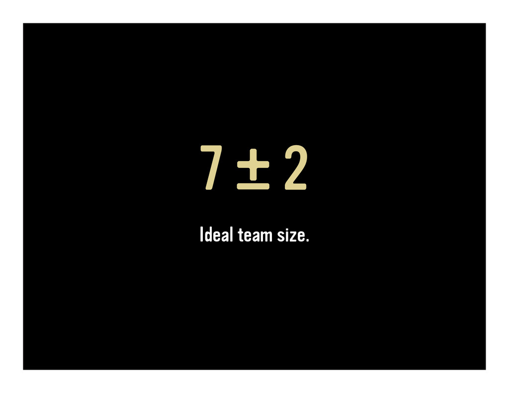 7 ± 2 Ideal team size.