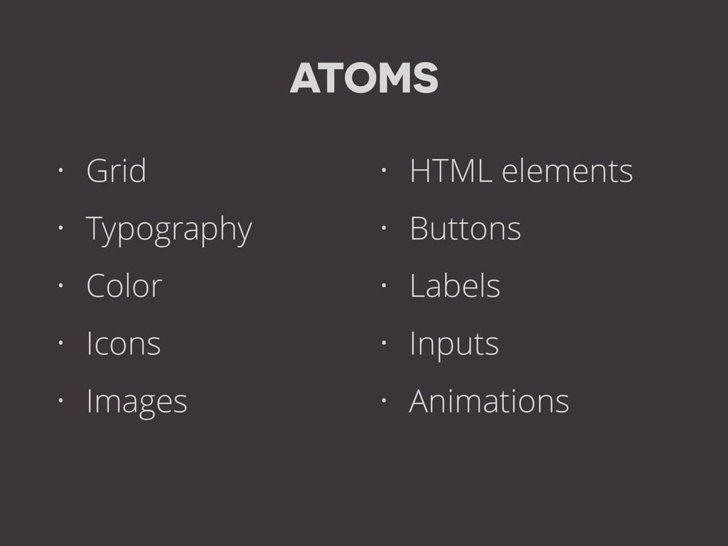 ATOMS • Grid • Typography • Color • Icons • Ima...