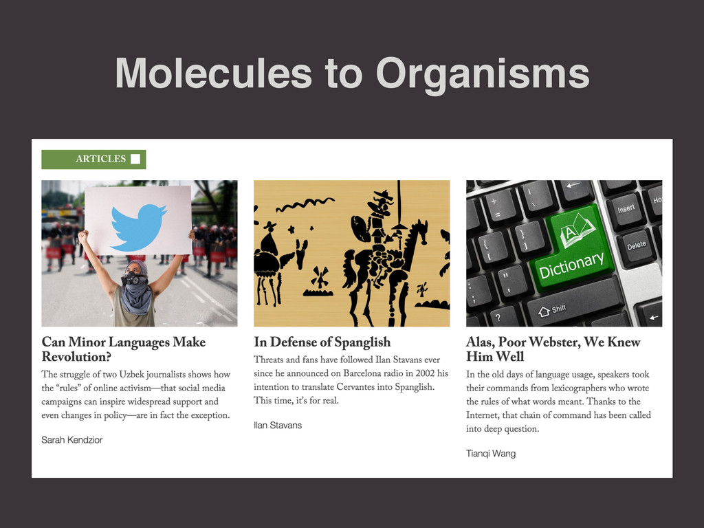 Molecules to Organisms