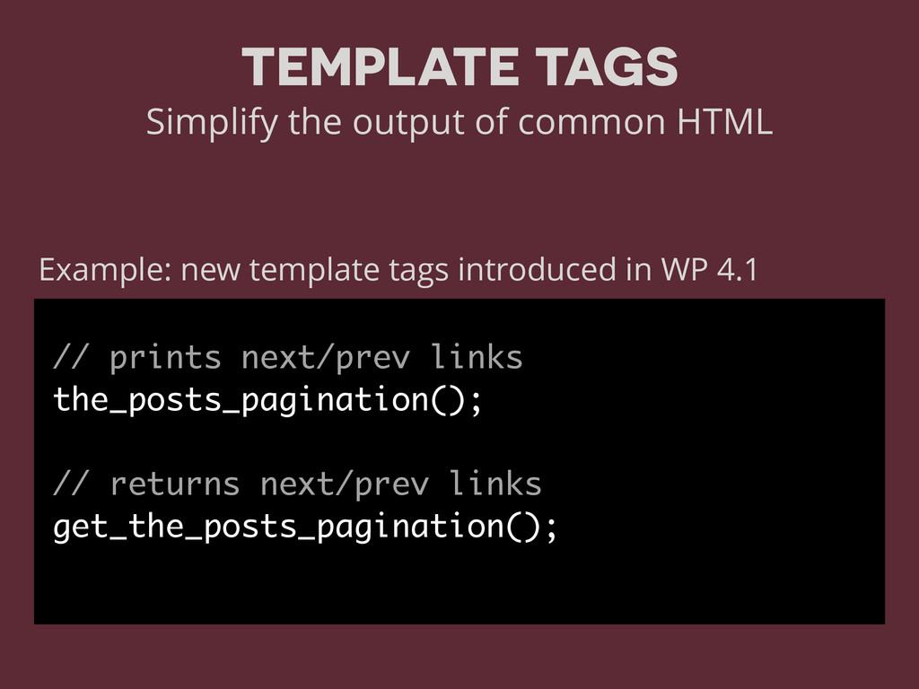 // prints next/prev links the_posts_pagination(...