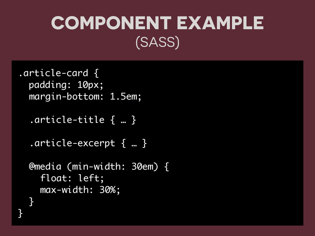COMPONENT EXAMPLE (SASS) .article-card { paddin...