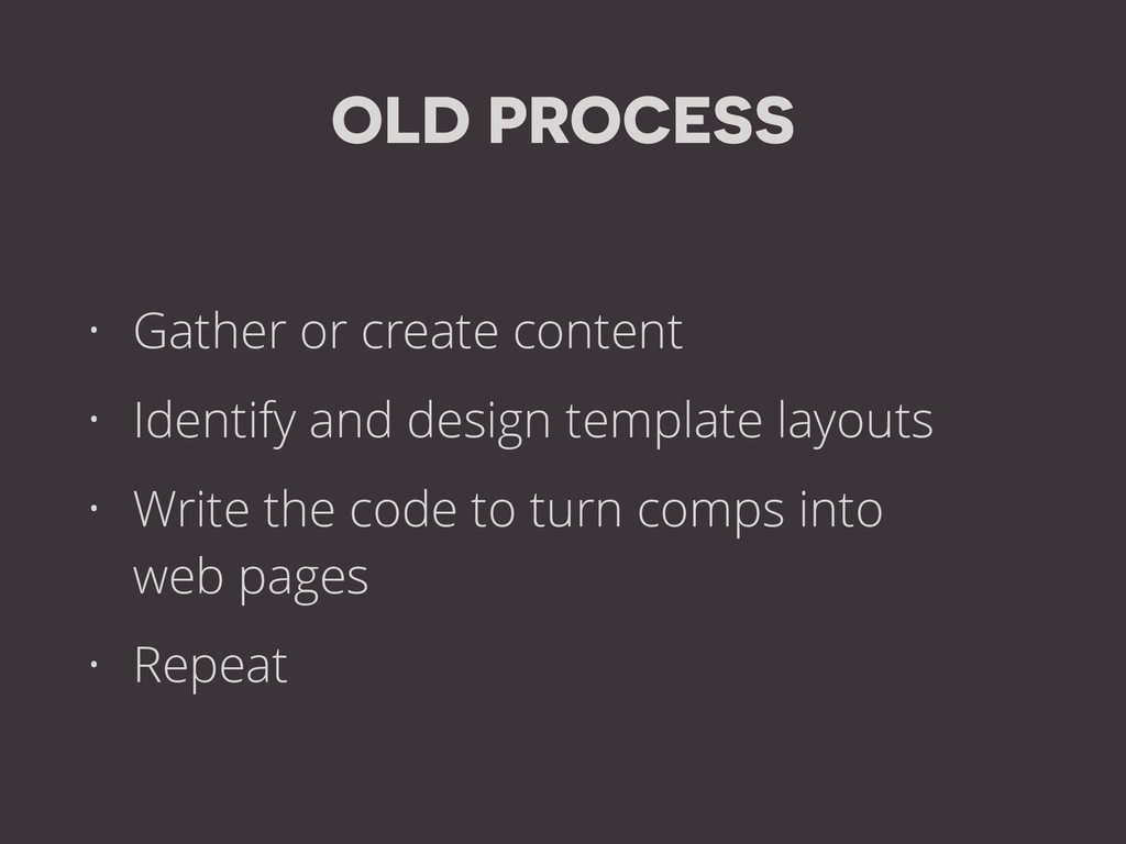 OLD PROCESS • Gather or create content • Identi...