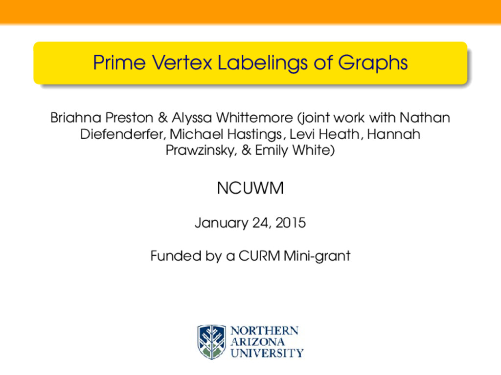 Prime Vertex Labelings of Graphs Briahna Presto...