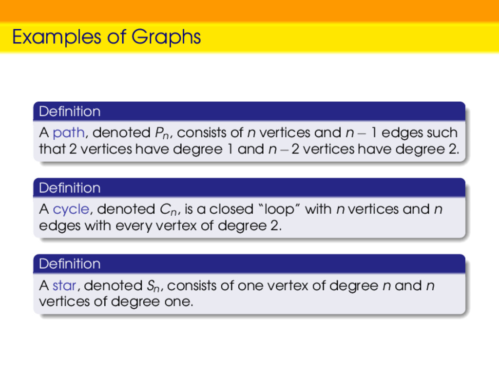 Examples of Graphs Definition A path, denoted Pn...