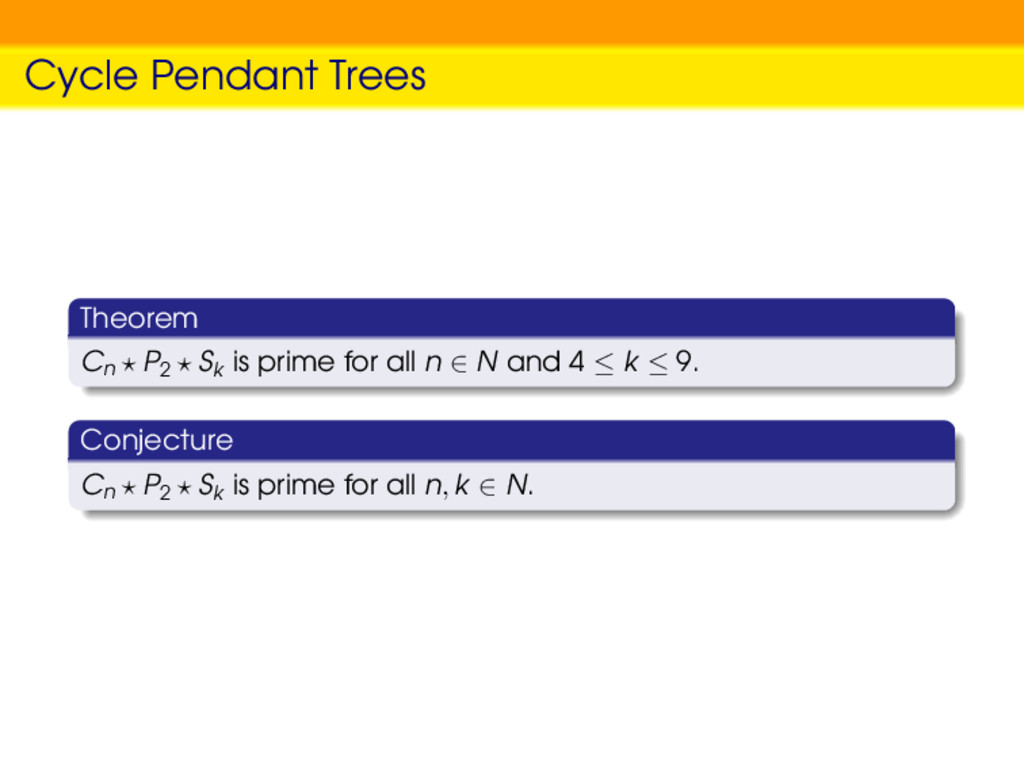 Cycle Pendant Trees Theorem Cn P2 Sk is prime f...