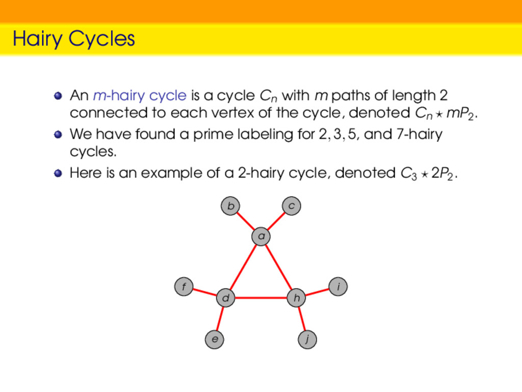 Hairy Cycles An m-hairy cycle is a cycle Cn wit...