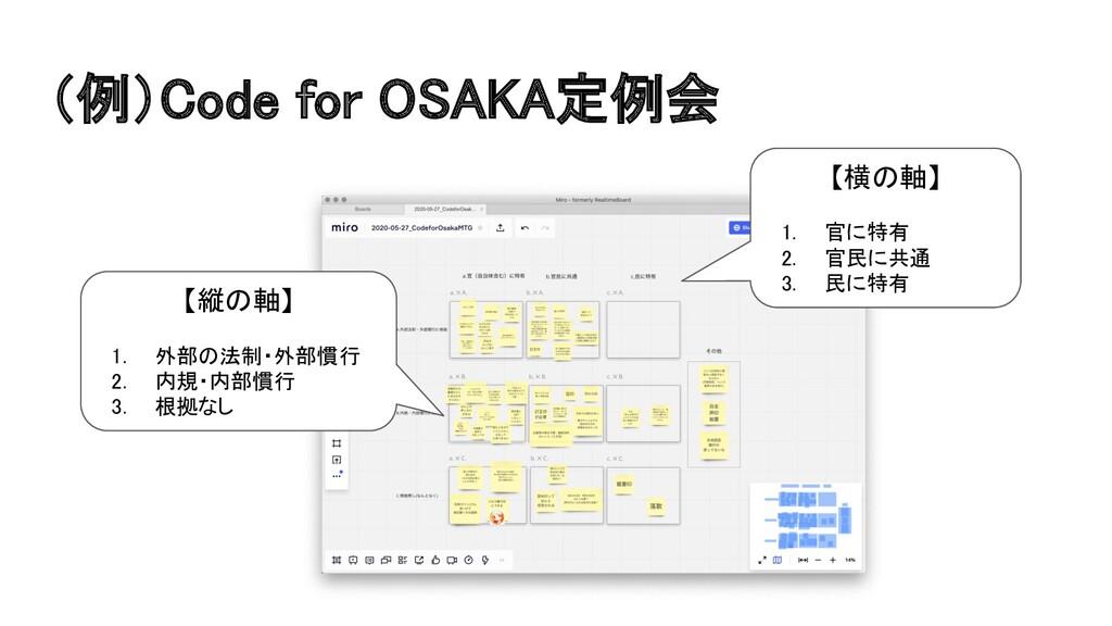 (例)Code for OSAKA定例会 【横の軸】  1. 官に特有 2. 官民に共...