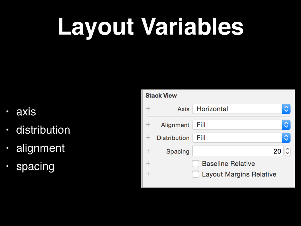 Layout Variables • axis • distribution • alignm...