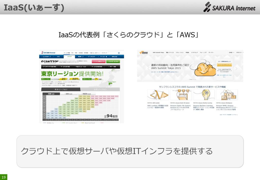 19 クラウド上で仮想サーバや仮想ITインフラを提供する IaaSの代表例「さくらのクラウド」...