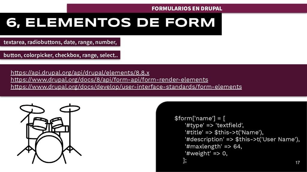 FORMULARIOS EN DRUPAL 6, ELEMENTOS DE FORM text...