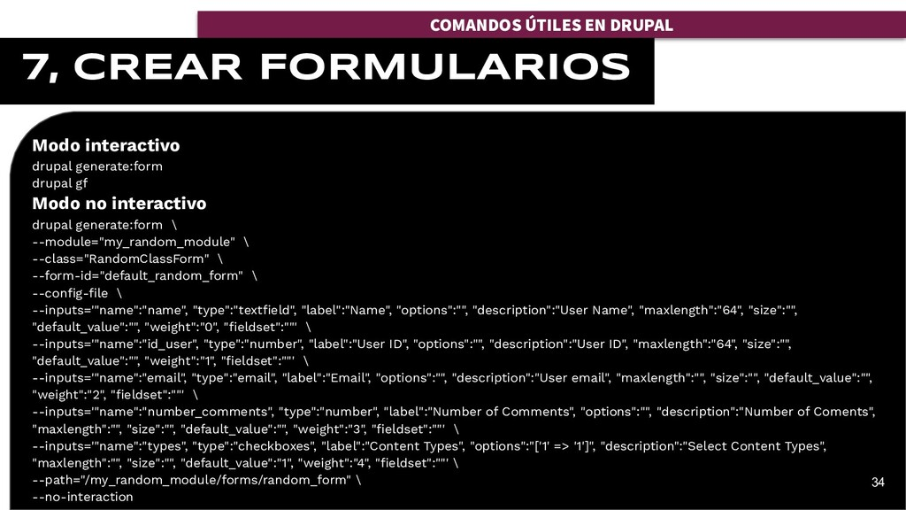 Modo interactivo drupal generate:form drupal gf...