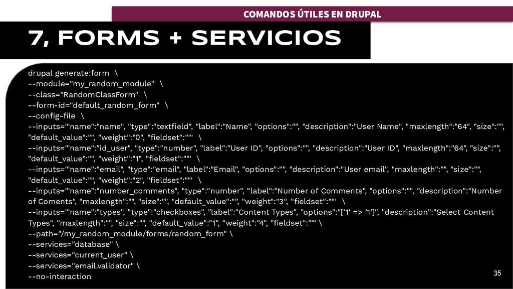 "drupal generate:form \ --module=""my_random_modu..."