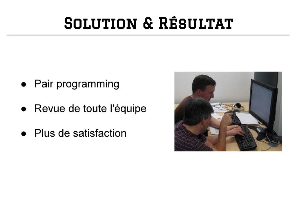 ● Pair programming ● Revue de toute l'équipe ● ...