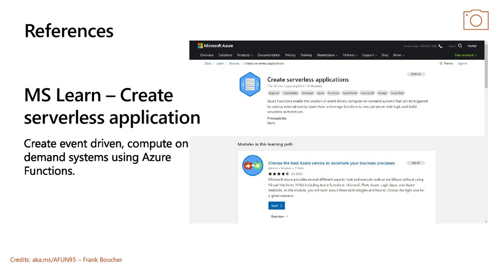 MS Learn – Create serverless application Refere...