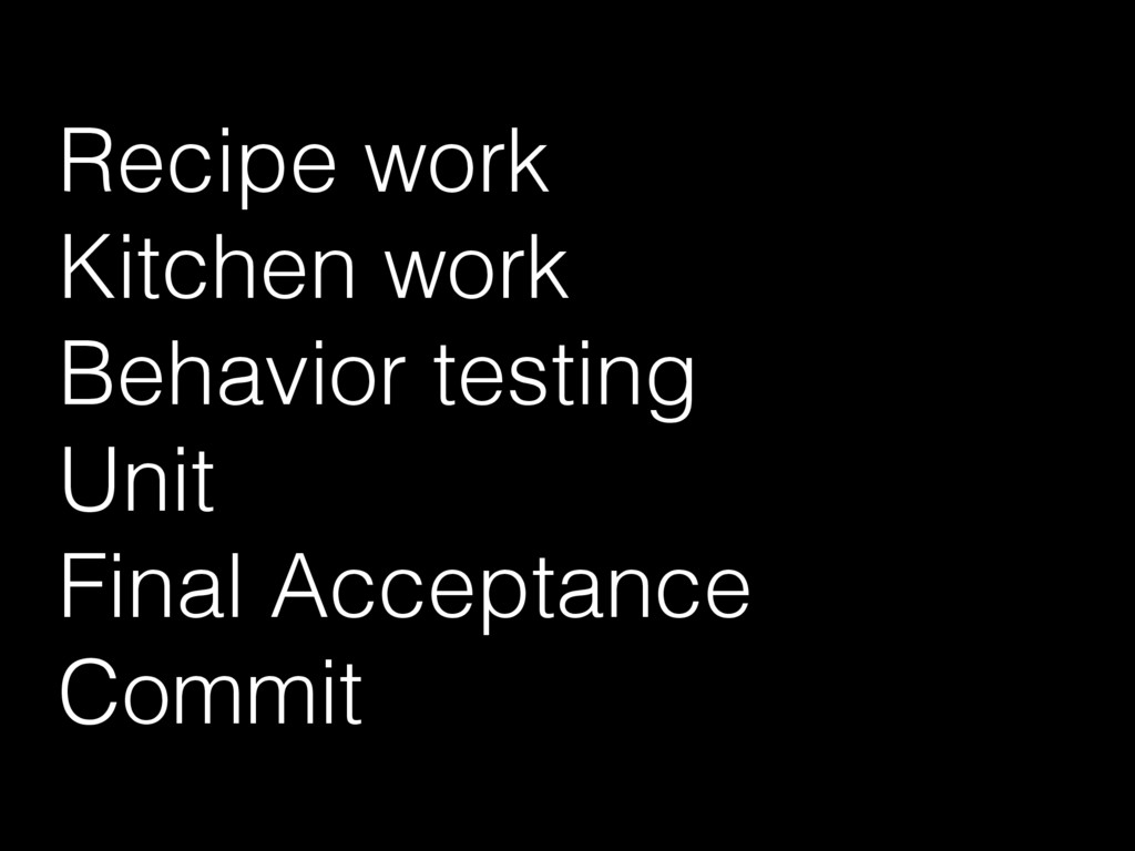 Recipe work Kitchen work Behavior testing Unit ...