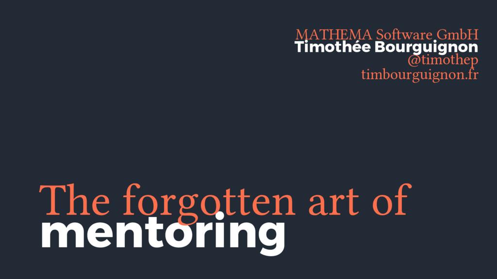 mentoring The forgotten art of MATHEMA Software...