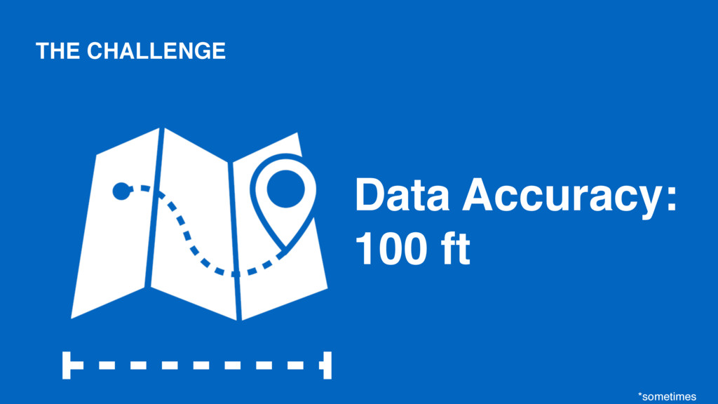 Data Accuracy: 100 ft *sometimes THE CHALLENGE