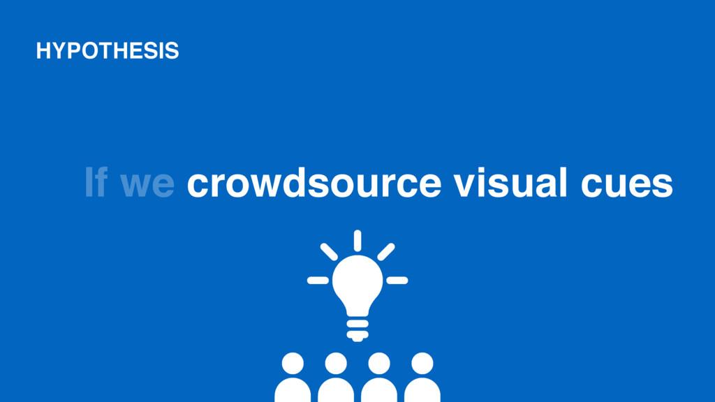 If we crowdsource visual cues HYPOTHESIS