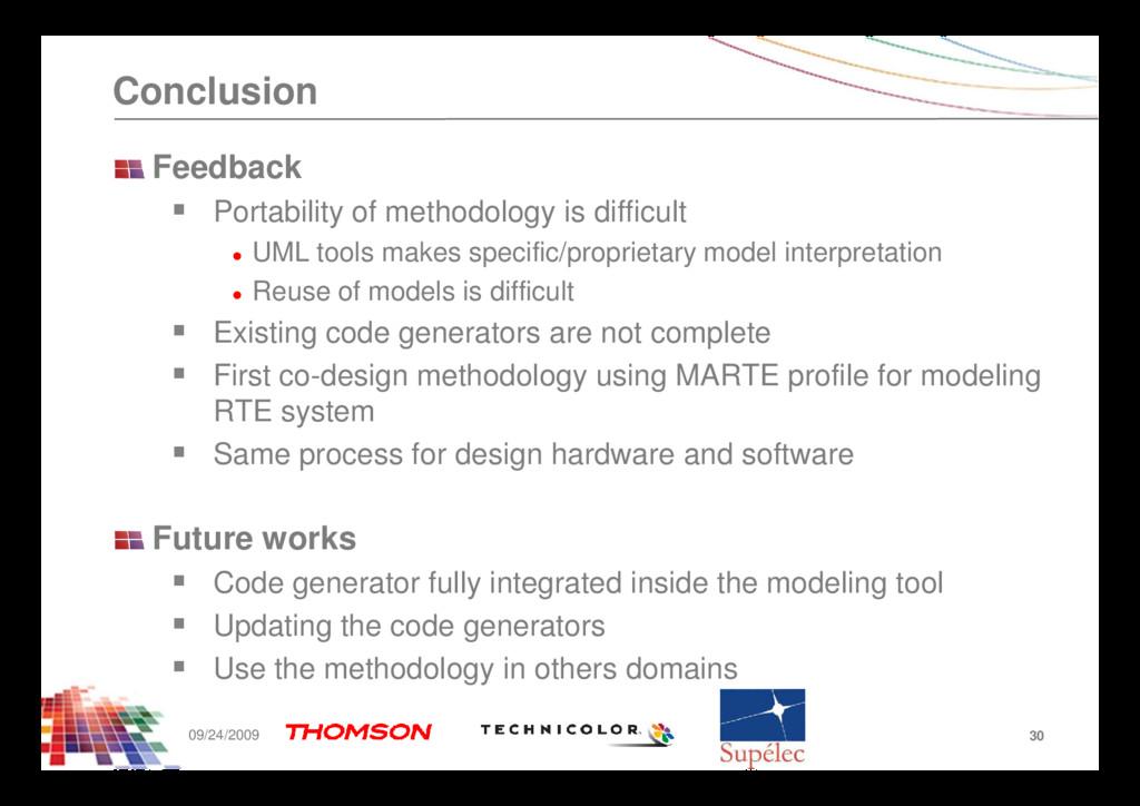 Conclusion Feedback Portability of methodology ...