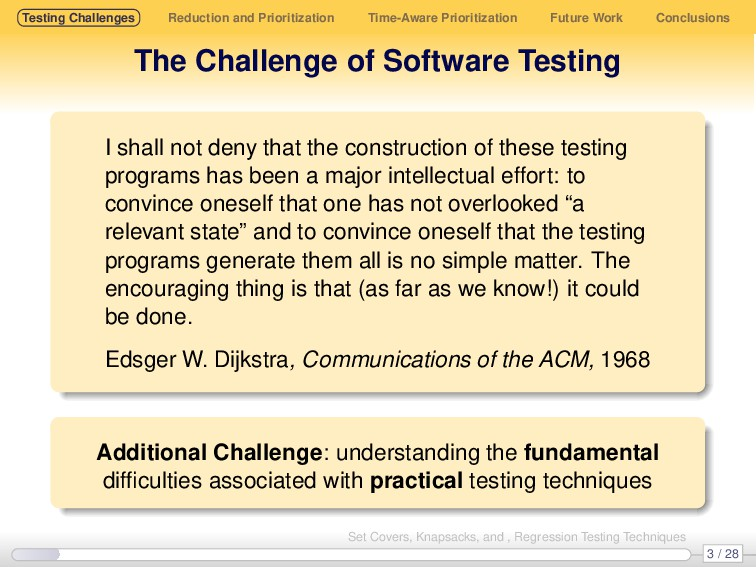 Testing Challenges Reduction and Prioritization...