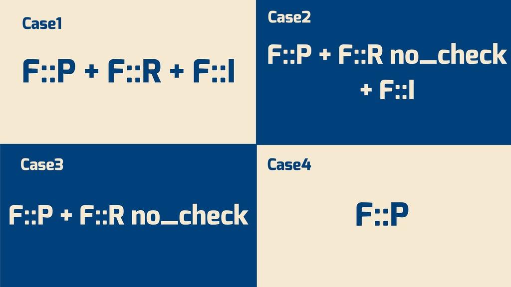F::P + F::R + F::I F::P + F::R no_check + F::I ...