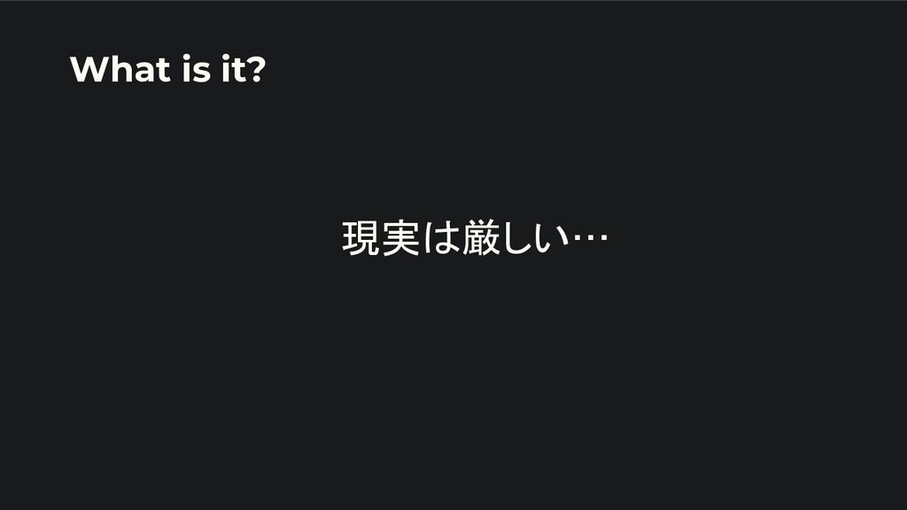 現実は厳しい…   What is it?