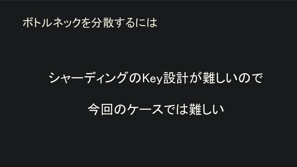 シャーディングのKey設計が難しいので  今回のケースでは難しい ボトルネックを分散する...
