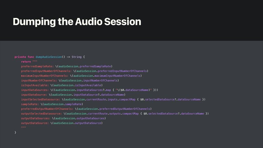 Dumping the Audio Session private func dumpAudi...