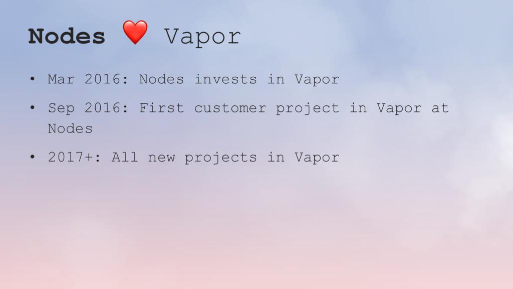 Nodes ❤ Vapor • Mar 2016: Nodes invests in Vapo...