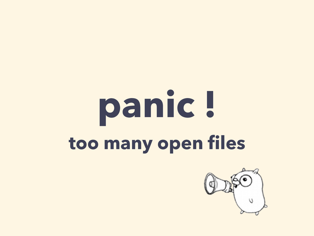 panic ! too many open files