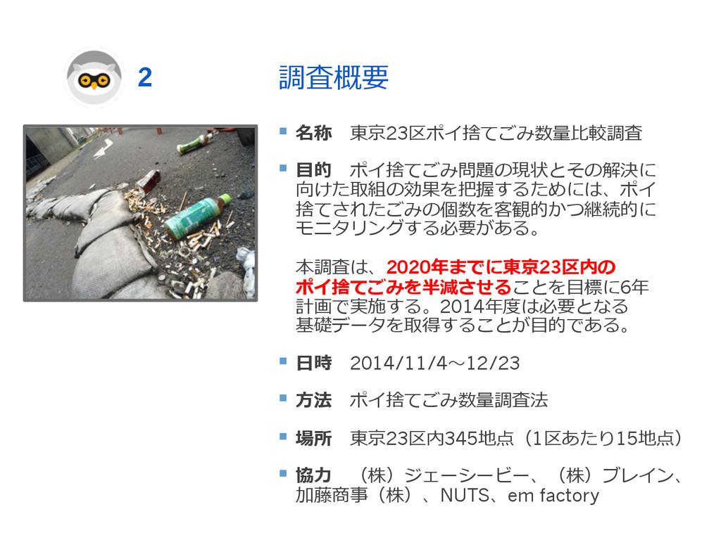 調査概要 § 名称 東京23区ポイ捨てごみ数量量⽐比較調査 § ⽬目的 ポイ捨てご...