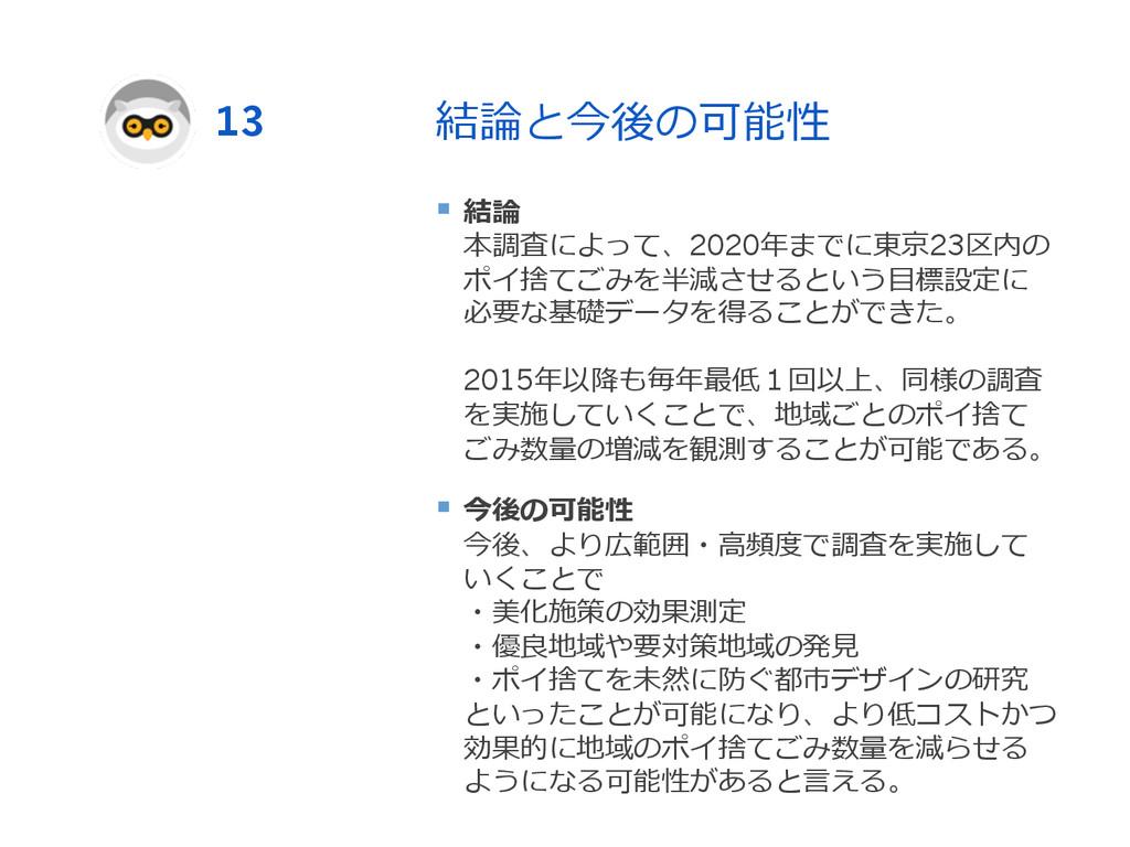 結論論と今後の可能性 § 結論論 本調査によって、2020年年までに東京23区内の ポイ捨...