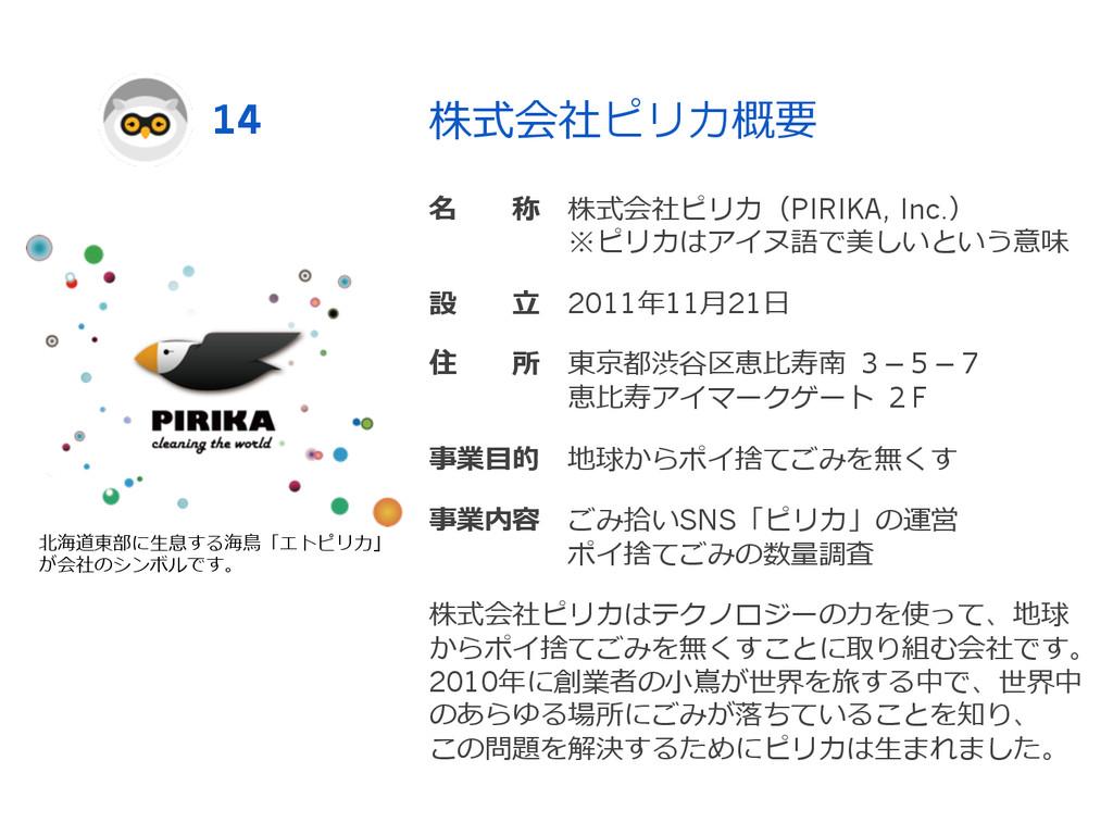 株式会社ピリカ概要 名  称 株式会社ピリカ(PIRIKA, Inc.)    ...