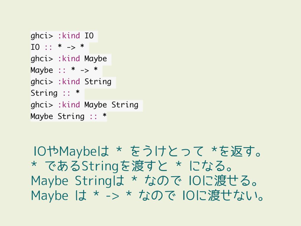 ghci> :kind IO IO :: * -> * ghci> :kind Maybe M...