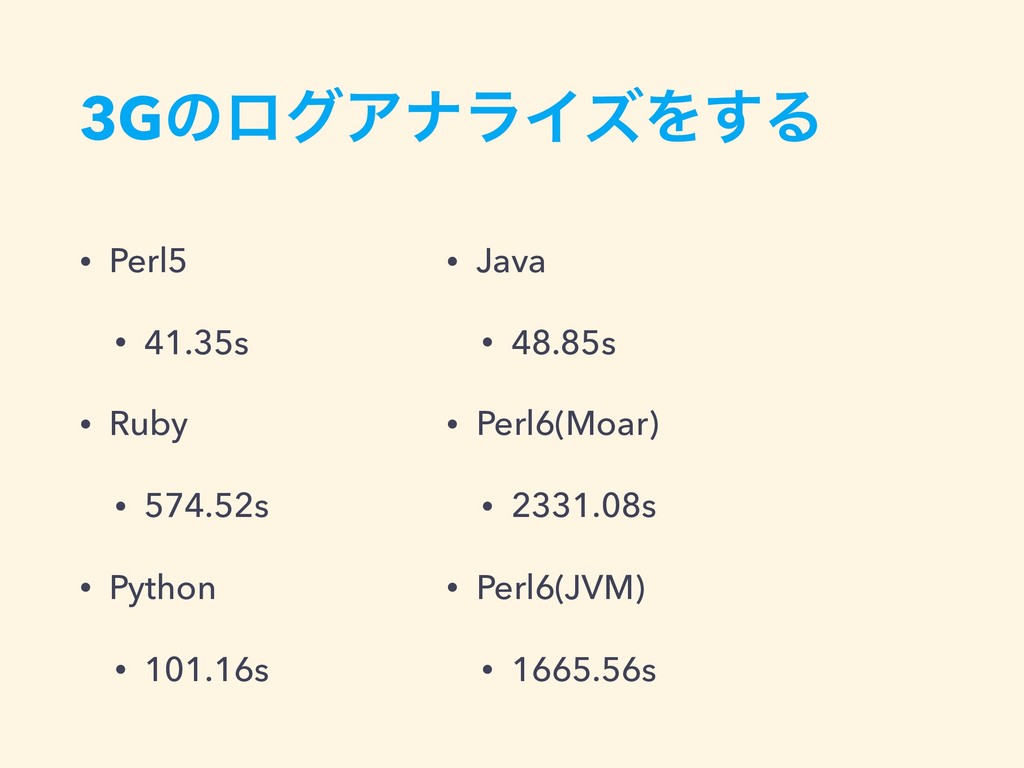 3GͷϩάΞφϥΠζΛ͢Δ • Perl5 • 41.35s • Ruby • 574.52s...