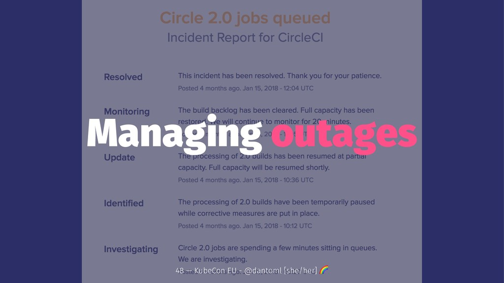 Managing outages 48 — KubeCon EU - @dantoml [sh...
