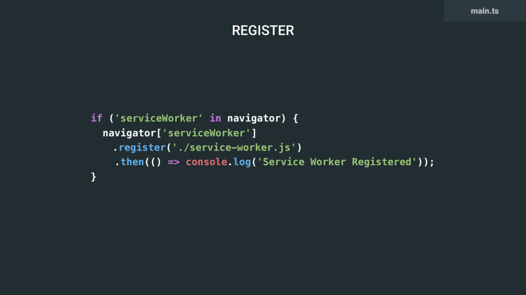 if ('serviceWorker' in navigator) { navigator['...