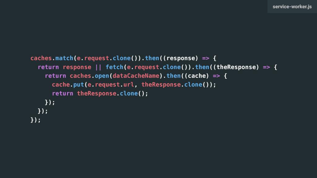 caches.match(e.request.clone()).then((response)...